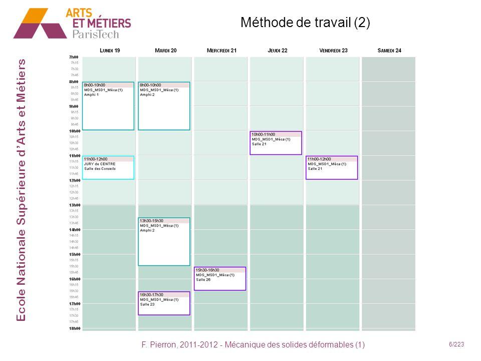 F. Pierron, 2011-2012 - Mécanique des solides déformables (1) 6/223 Méthode de travail (2)