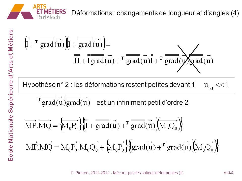 F. Pierron, 2011-2012 - Mécanique des solides déformables (1) 61/223 est un infiniment petit dordre 2 Déformations : changements de longueur et dangle