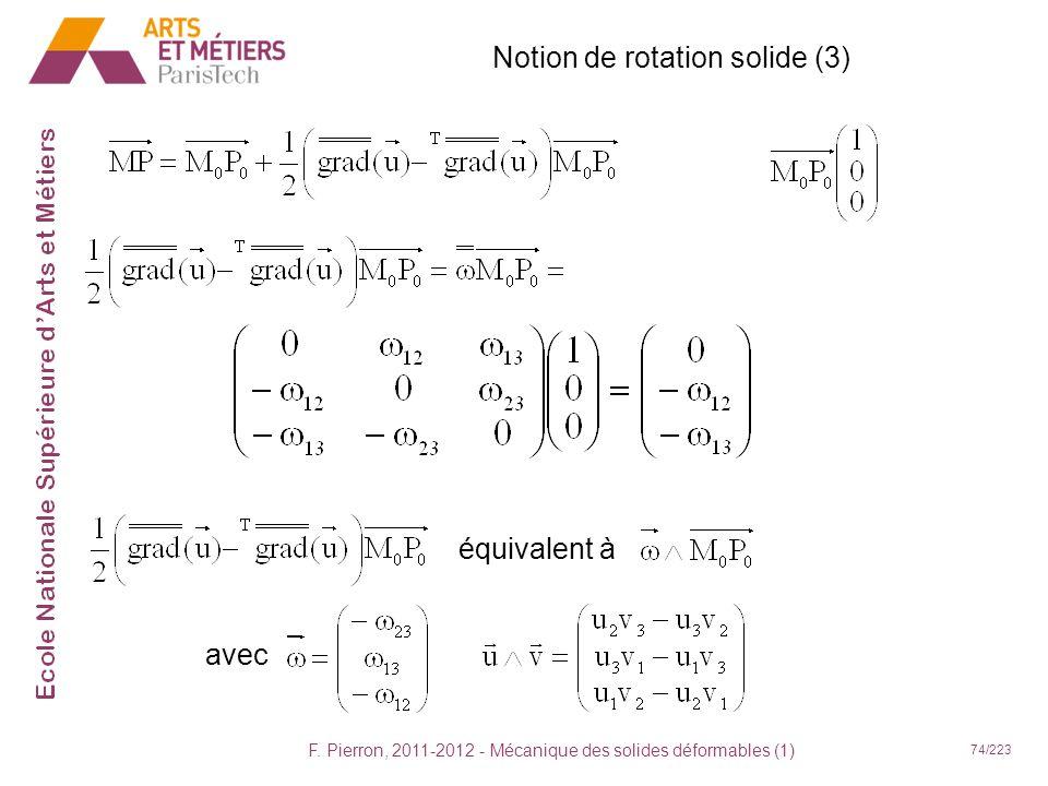 F. Pierron, 2011-2012 - Mécanique des solides déformables (1) 74/223 Notion de rotation solide (3) équivalent à avec