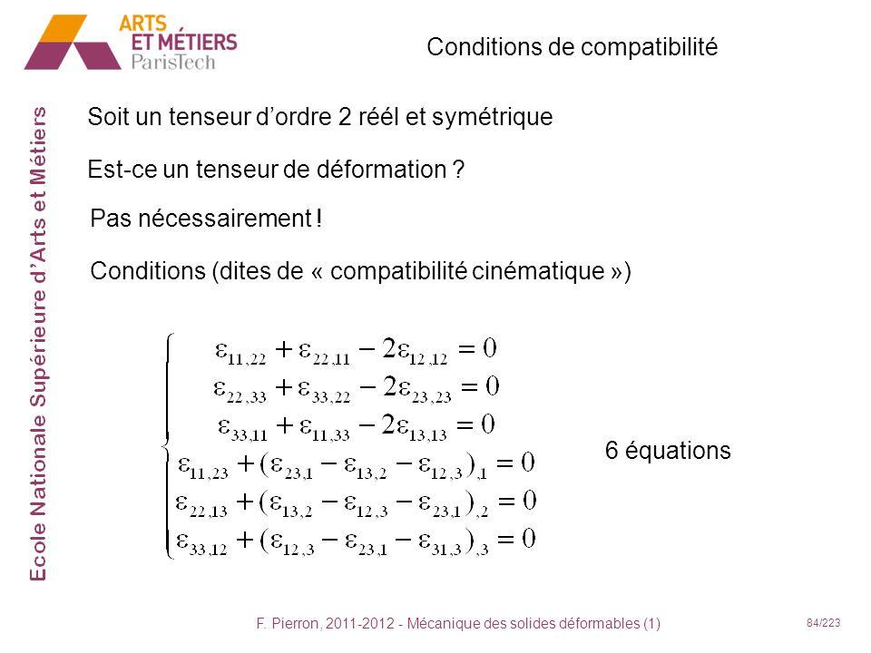 F. Pierron, 2011-2012 - Mécanique des solides déformables (1) 84/223 Conditions de compatibilité Soit un tenseur dordre 2 réél et symétrique Est-ce un