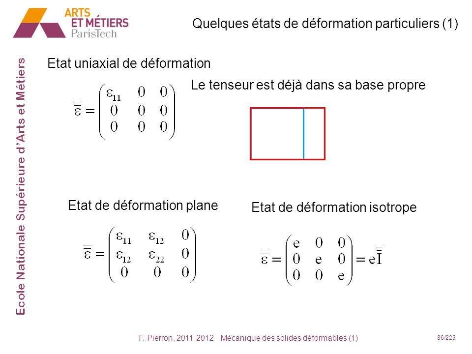 F. Pierron, 2011-2012 - Mécanique des solides déformables (1) 86/223 Quelques états de déformation particuliers (1) Etat uniaxial de déformation Le te