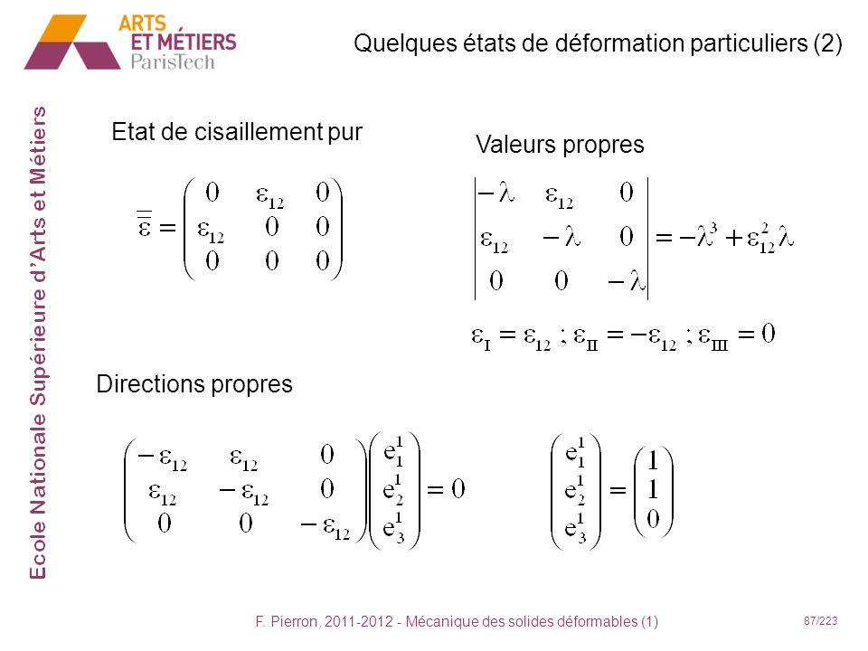 F. Pierron, 2011-2012 - Mécanique des solides déformables (1) 87/223 Quelques états de déformation particuliers (2) Etat de cisaillement pur Valeurs p