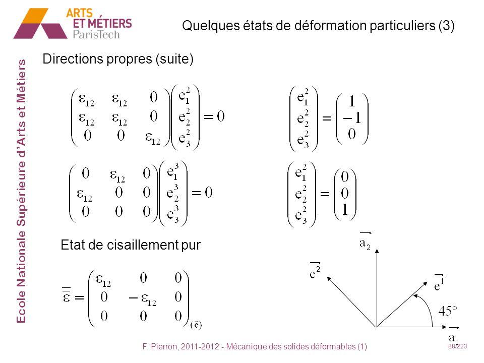 F. Pierron, 2011-2012 - Mécanique des solides déformables (1) 88/223 Quelques états de déformation particuliers (3) Directions propres (suite) Etat de