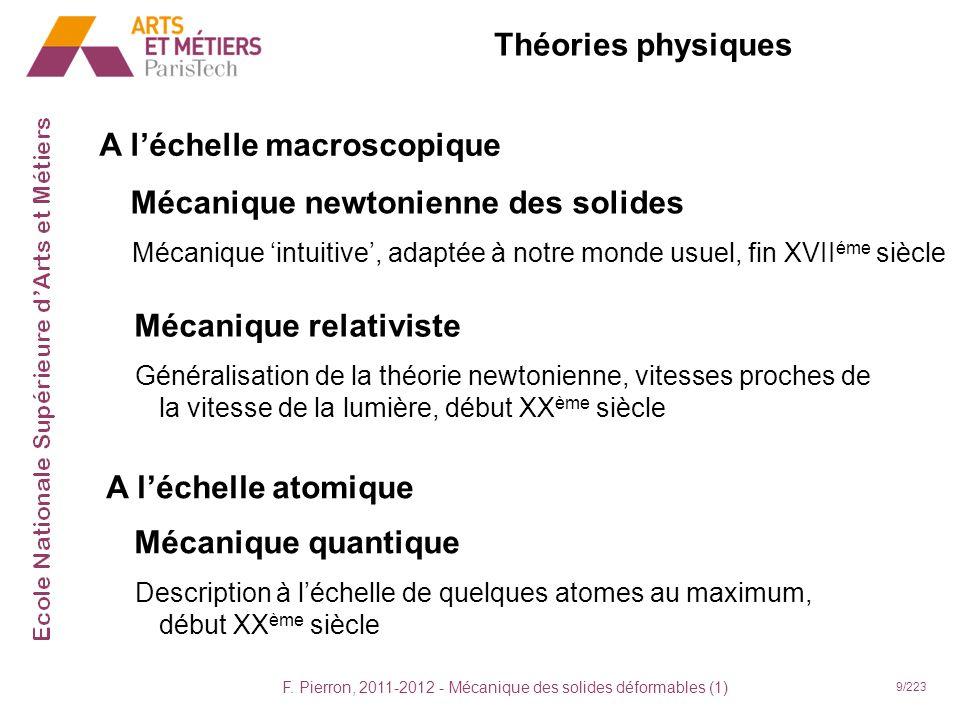 F. Pierron, 2011-2012 - Mécanique des solides déformables (1) 9/223 Théories physiques A léchelle macroscopique Mécanique newtonienne des solides Méca