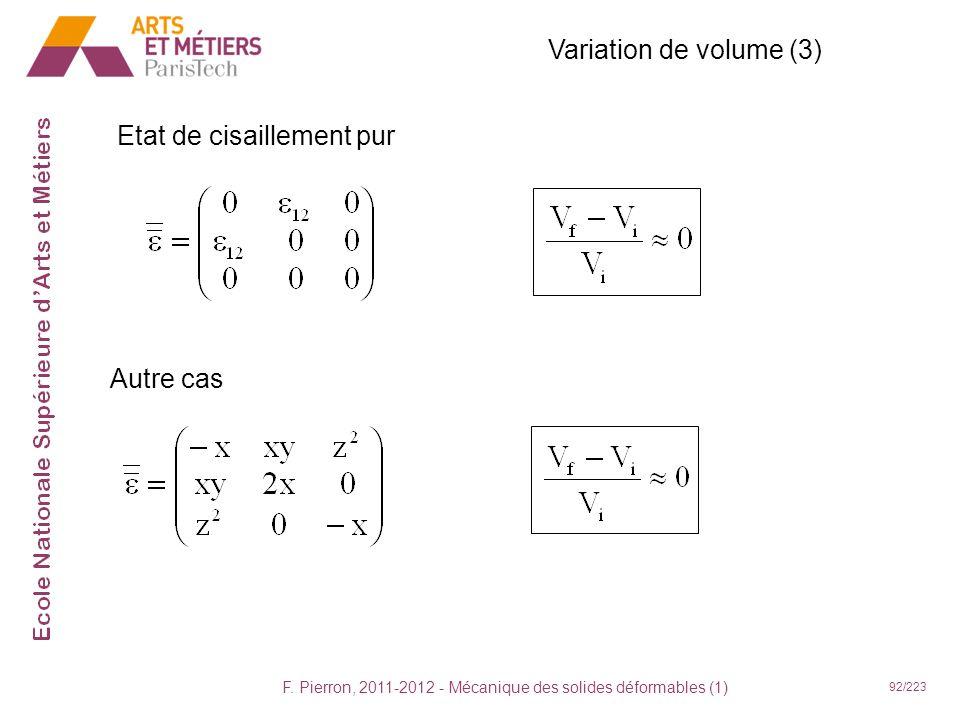 F. Pierron, 2011-2012 - Mécanique des solides déformables (1) 92/223 Variation de volume (3) Etat de cisaillement pur Autre cas