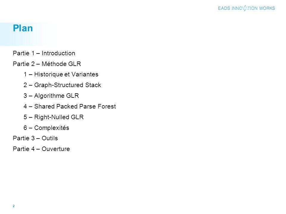 Plan Partie 1 – Introduction Partie 2 – Méthode GLR 1 – Historique et Variantes 2 – Graph-Structured Stack 3 – Algorithme GLR 4 – Shared Packed Parse Forest 5 – Right-Nulled GLR 6 – Complexités Partie 3 – Outils Partie 4 – Ouverture 2