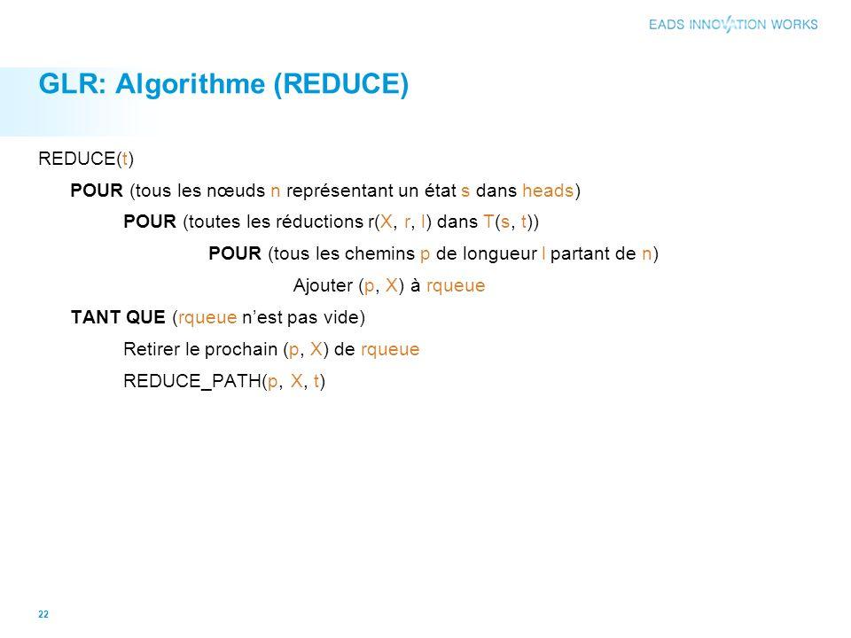 GLR: Algorithme (REDUCE) REDUCE(t) POUR (tous les nœuds n représentant un état s dans heads) POUR (toutes les réductions r(X, r, l) dans T(s, t)) POUR (tous les chemins p de longueur l partant de n) Ajouter (p, X) à rqueue TANT QUE (rqueue nest pas vide) Retirer le prochain (p, X) de rqueue REDUCE_PATH(p, X, t) 22