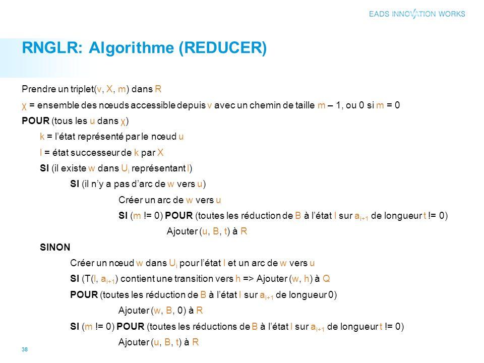 RNGLR: Algorithme (REDUCER) Prendre un triplet(v, X, m) dans R χ = ensemble des nœuds accessible depuis v avec un chemin de taille m – 1, ou 0 si m = 0 POUR (tous les u dans χ) k = létat représenté par le nœud u l = état successeur de k par X SI (il existe w dans U i représentant l) SI (il ny a pas darc de w vers u) Créer un arc de w vers u SI (m != 0) POUR (toutes les réduction de B à létat l sur a i+1 de longueur t != 0) Ajouter (u, B, t) à R SINON Créer un nœud w dans U i pour létat l et un arc de w vers u SI (T(l, a i+1 ) contient une transition vers h => Ajouter (w, h) à Q POUR (toutes les réduction de B à létat l sur a i+1 de longueur 0) Ajouter (w, B, 0) à R SI (m != 0) POUR (toutes les réductions de B à létat l sur a i+1 de longueur t != 0) Ajouter (u, B, t) à R 38