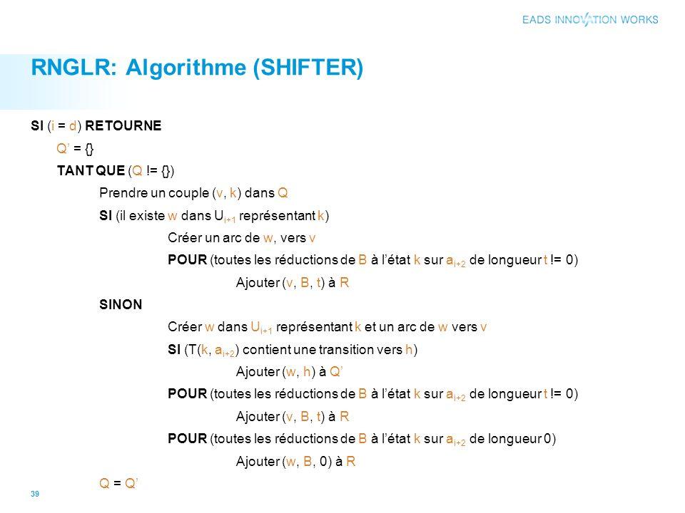 RNGLR: Algorithme (SHIFTER) SI (i = d) RETOURNE Q = {} TANT QUE (Q != {}) Prendre un couple (v, k) dans Q SI (il existe w dans U i+1 représentant k) Créer un arc de w, vers v POUR (toutes les réductions de B à létat k sur a i+2 de longueur t != 0) Ajouter (v, B, t) à R SINON Créer w dans U i+1 représentant k et un arc de w vers v SI (T(k, a i+2 ) contient une transition vers h) Ajouter (w, h) à Q POUR (toutes les réductions de B à létat k sur a i+2 de longueur t != 0) Ajouter (v, B, t) à R POUR (toutes les réductions de B à létat k sur a i+2 de longueur 0) Ajouter (w, B, 0) à R Q = Q 39