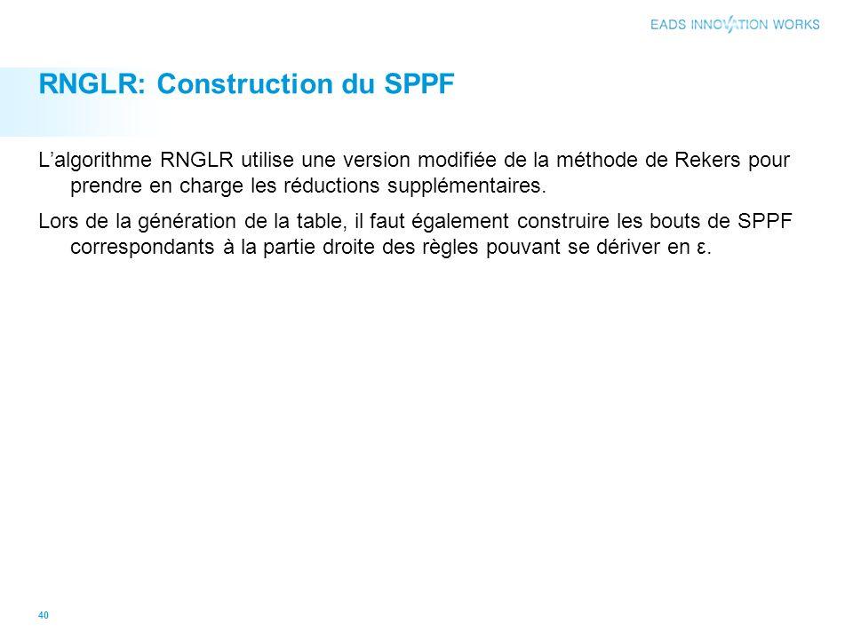 RNGLR: Construction du SPPF Lalgorithme RNGLR utilise une version modifiée de la méthode de Rekers pour prendre en charge les réductions supplémentaires.