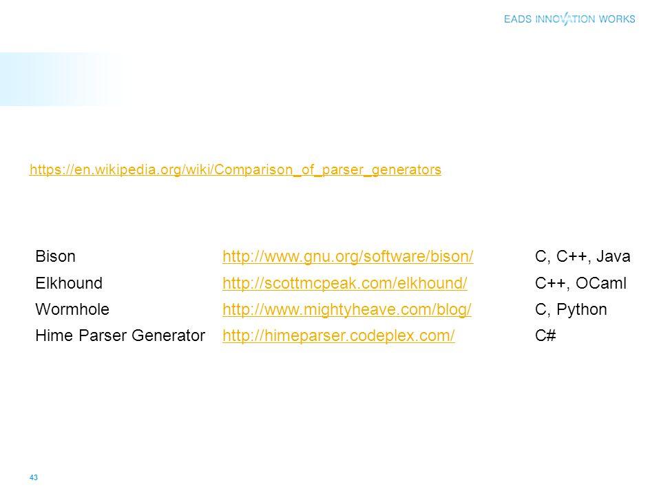 https://en.wikipedia.org/wiki/Comparison_of_parser_generators 43 Bisonhttp://www.gnu.org/software/bison/C, C++, Java Elkhoundhttp://scottmcpeak.com/el