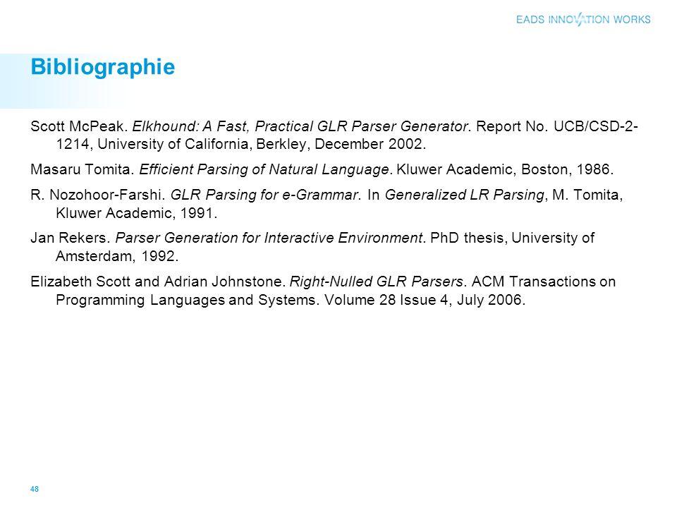 Bibliographie Scott McPeak. Elkhound: A Fast, Practical GLR Parser Generator. Report No. UCB/CSD-2- 1214, University of California, Berkley, December