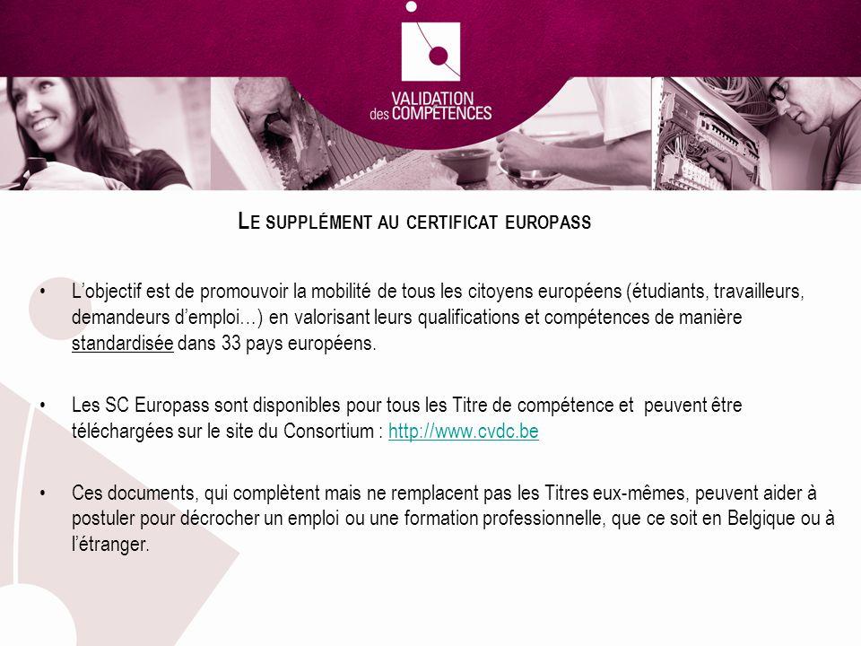 L E SUPPLÉMENT AU CERTIFICAT EUROPASS Lobjectif est de promouvoir la mobilité de tous les citoyens européens (étudiants, travailleurs, demandeurs demploi…) en valorisant leurs qualifications et compétences de manière standardisée dans 33 pays européens.