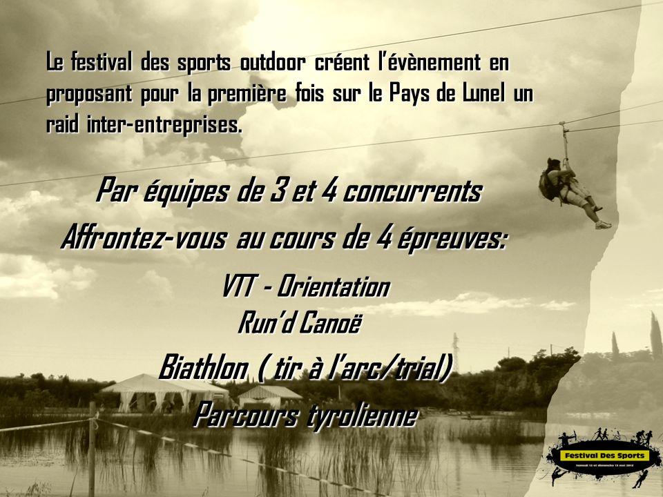 Le festival des sports outdoor créent lévènement en proposant pour la première fois sur le Pays de Lunel un raid inter-entreprises. Affrontez-vous au