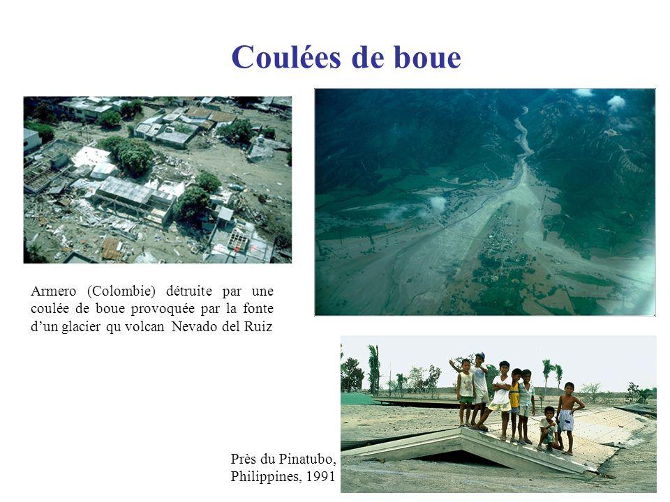 Coulées de boue Armero (Colombie) détruite par une coulée de boue provoquée par la fonte dun glacier qu volcan Nevado del Ruiz Près du Pinatubo, Phili