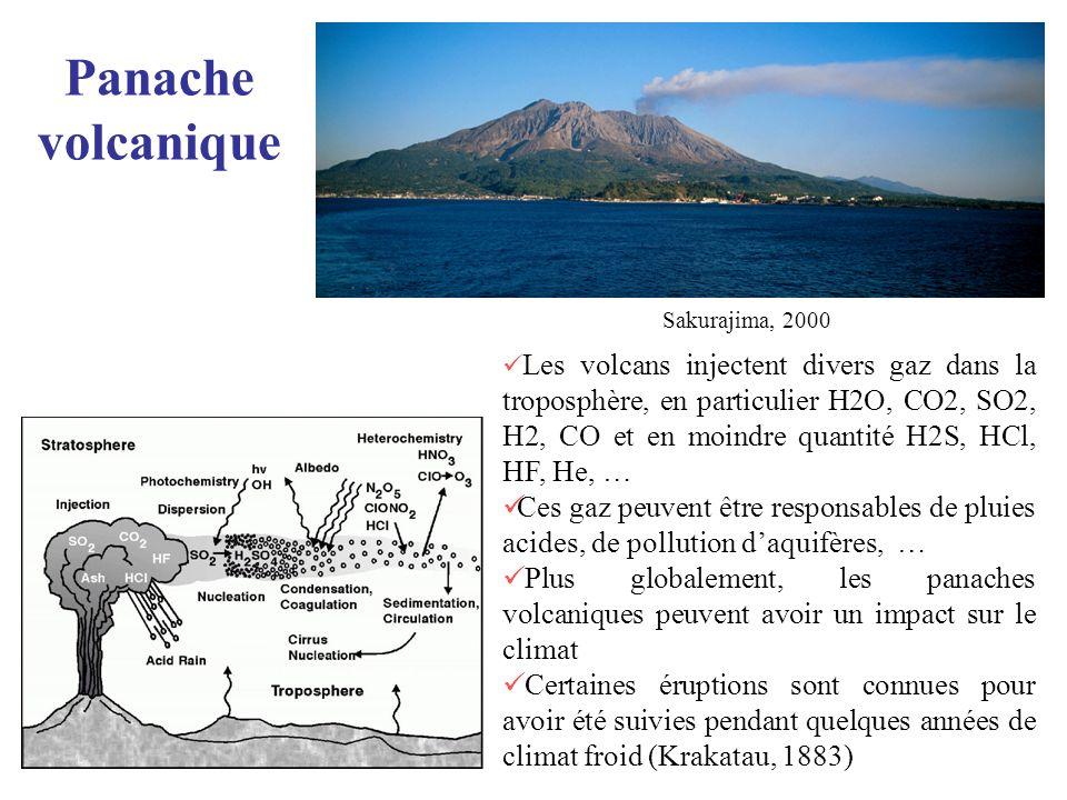 Panache volcanique Les volcans injectent divers gaz dans la troposphère, en particulier H2O, CO2, SO2, H2, CO et en moindre quantité H2S, HCl, HF, He,