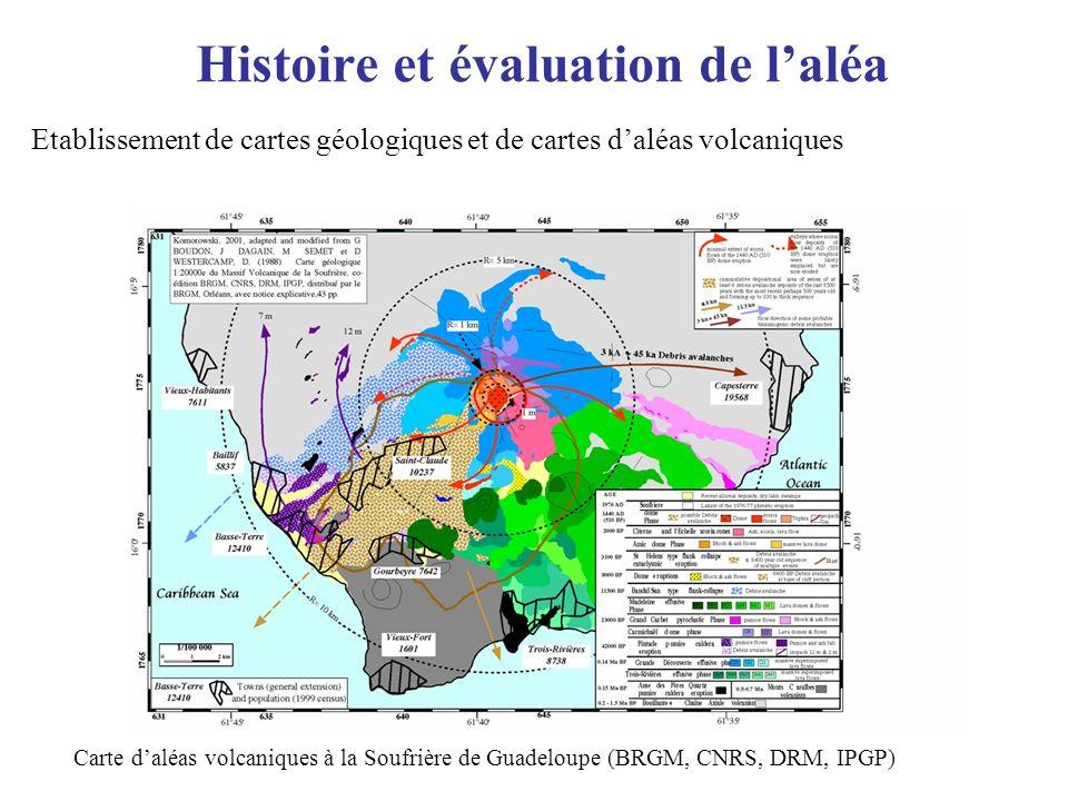 Histoire et évaluation de laléa Etablissement de cartes géologiques et de cartes daléas volcaniques Carte daléas volcaniques à la Soufrière de Guadelo