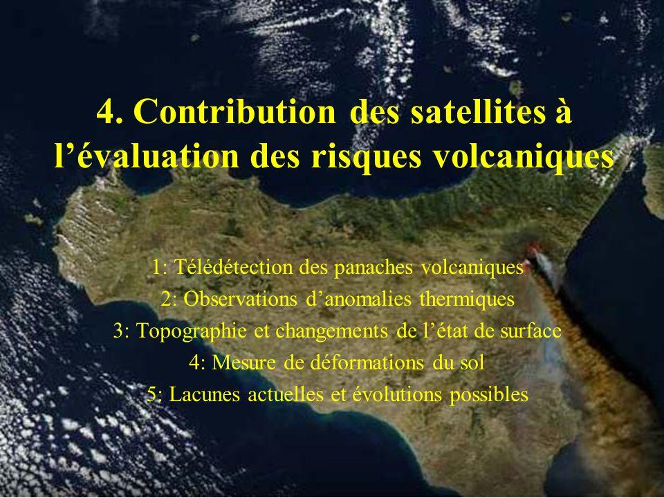 4. Contribution des satellites à lévaluation des risques volcaniques 1: Télédétection des panaches volcaniques 2: Observations danomalies thermiques 3