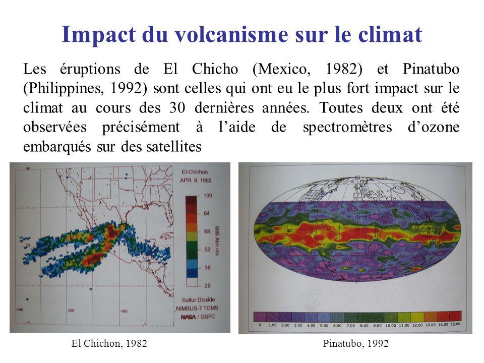 Impact du volcanisme sur le climat Les éruptions de El Chicho (Mexico, 1982) et Pinatubo (Philippines, 1992) sont celles qui ont eu le plus fort impac