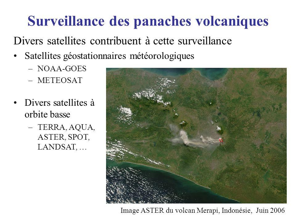 Surveillance des panaches volcaniques Divers satellites contribuent à cette surveillance Satellites géostationnaires météorologiques –NOAA-GOES –METEO