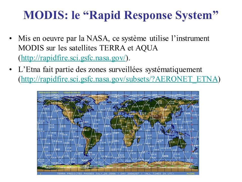 MODIS: le Rapid Response System Mis en oeuvre par la NASA, ce système utilise linstrument MODIS sur les satellites TERRA et AQUA (http://rapidfire.sci