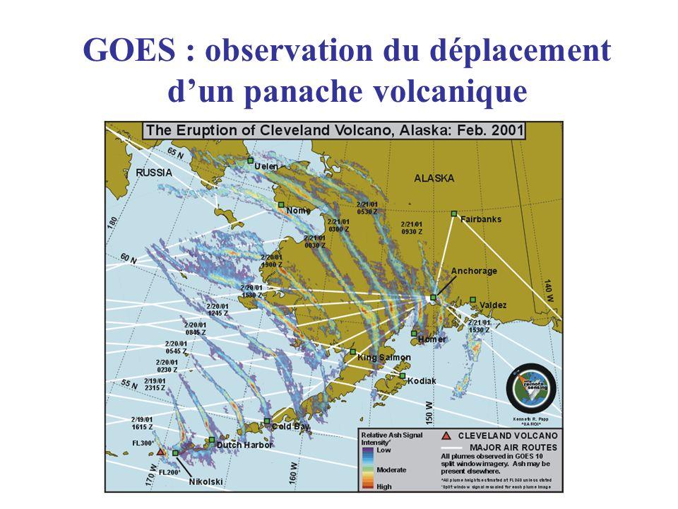 GOES : observation du déplacement dun panache volcanique