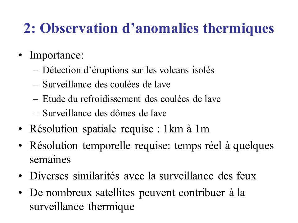 2: Observation danomalies thermiques Importance: –Détection déruptions sur les volcans isolés –Surveillance des coulées de lave –Etude du refroidissem