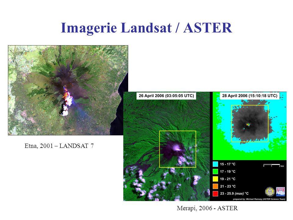 Imagerie Landsat / ASTER Etna, 2001 – LANDSAT 7 Merapi, 2006 - ASTER