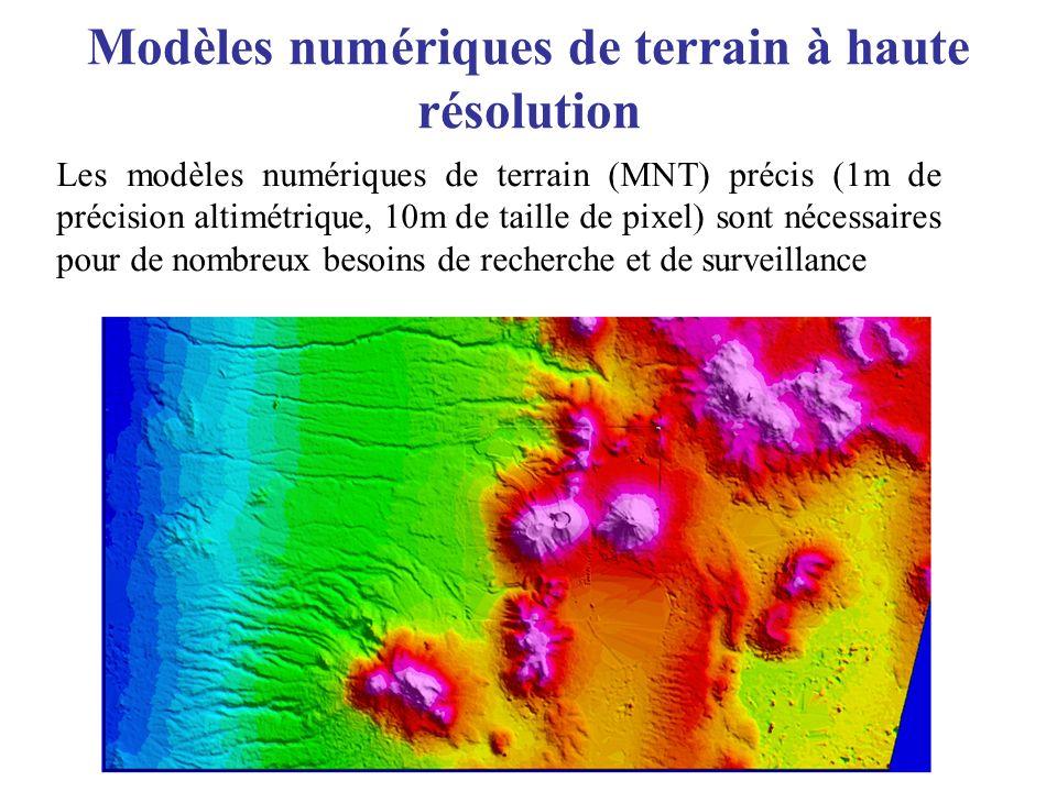 Modèles numériques de terrain à haute résolution Les modèles numériques de terrain (MNT) précis (1m de précision altimétrique, 10m de taille de pixel)