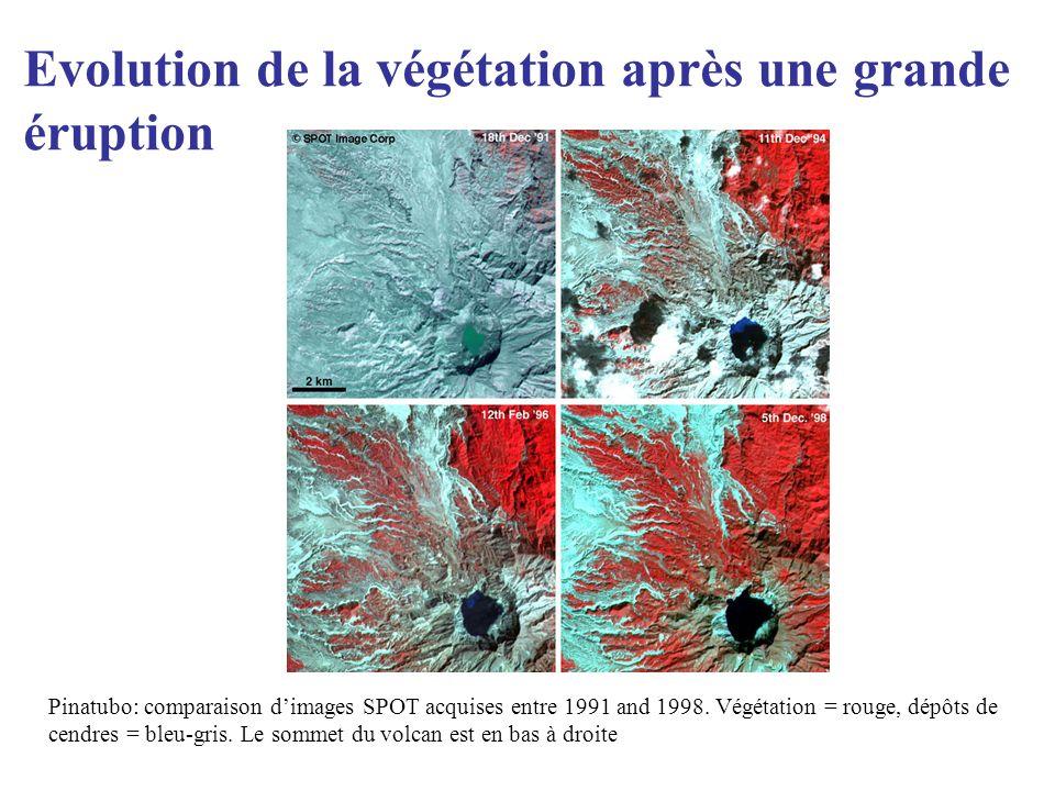 Pinatubo: comparaison dimages SPOT acquises entre 1991 and 1998. Végétation = rouge, dépôts de cendres = bleu-gris. Le sommet du volcan est en bas à d
