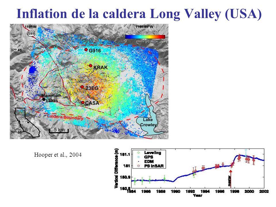 Inflation de la caldera Long Valley (USA) Hooper et al., 2004