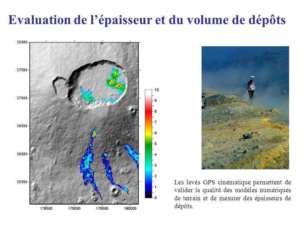 Evaluation de lépaisseur et du volume de dépôts Les levés GPS cinématique permettent de valider la qualité des modèles numériques de terrain et de mes