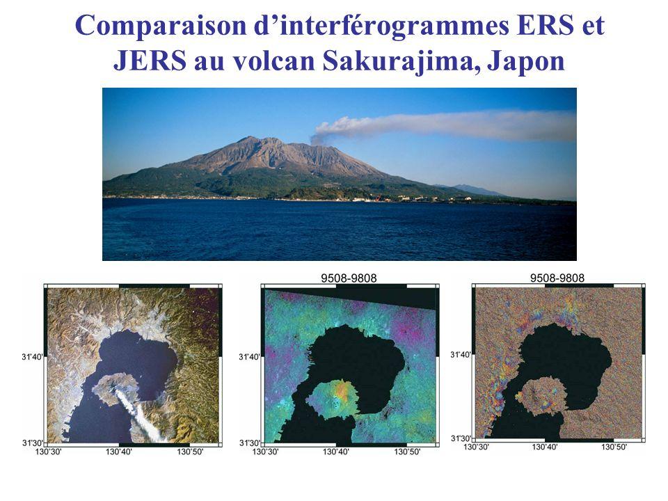 Comparaison dinterférogrammes ERS et JERS au volcan Sakurajima, Japon