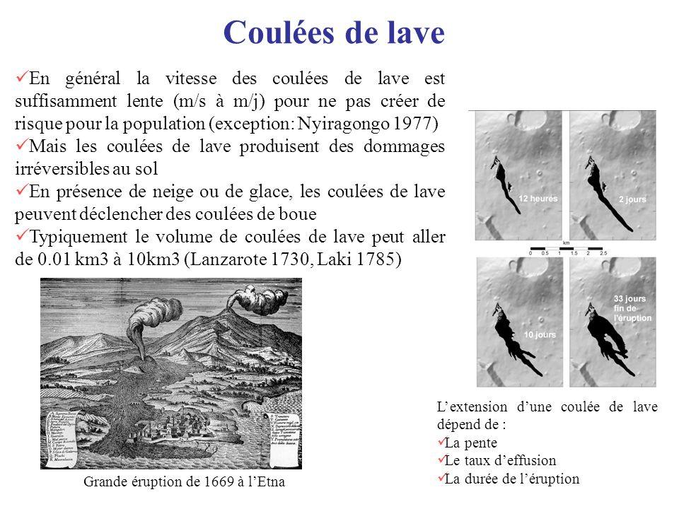 Coulées de lave Grande éruption de 1669 à lEtna En général la vitesse des coulées de lave est suffisamment lente (m/s à m/j) pour ne pas créer de risq