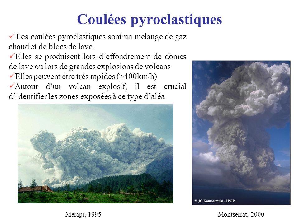Coulées pyroclastiques Les coulées pyroclastiques sont un mélange de gaz chaud et de blocs de lave. Elles se produisent lors deffondrement de dômes de