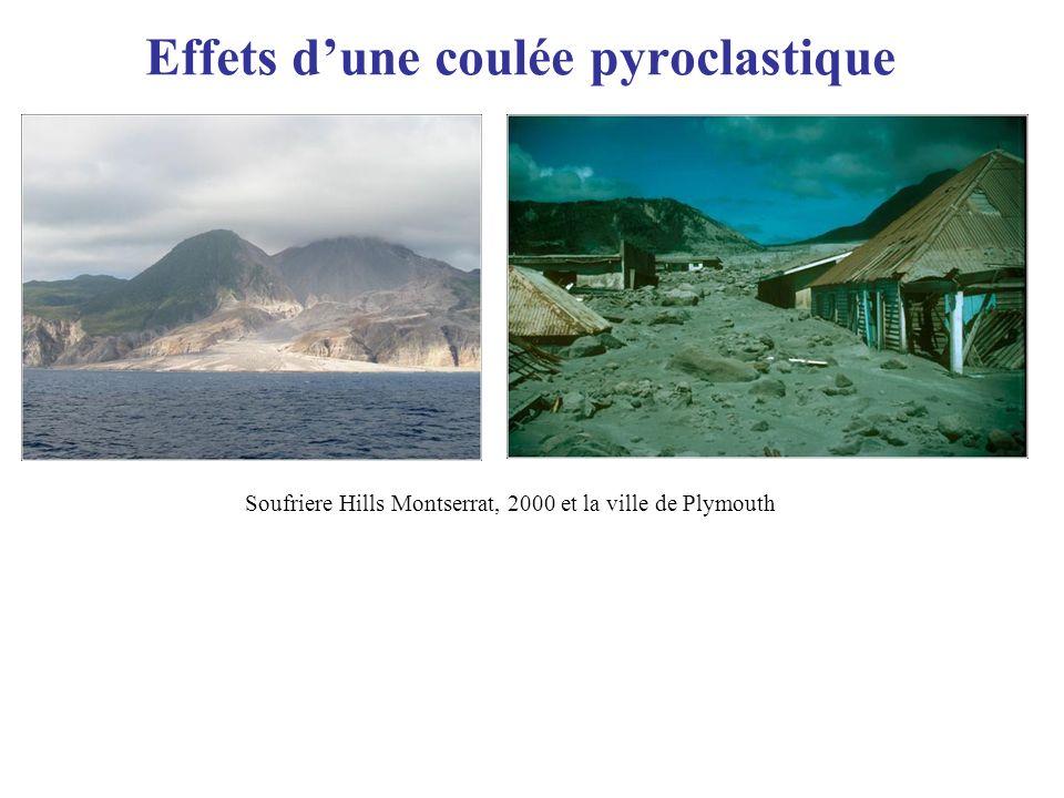 Effets dune coulée pyroclastique Montagne Pelée Soufriere Hills Montserrat, 2000 et la ville de Plymouth