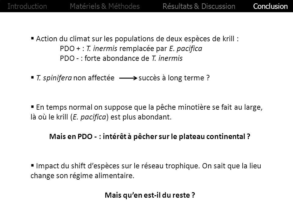 Action du climat sur les populations de deux espèces de krill : PDO + : T. inermis remplacée par E. pacifica PDO - : forte abondance de T. inermis T.