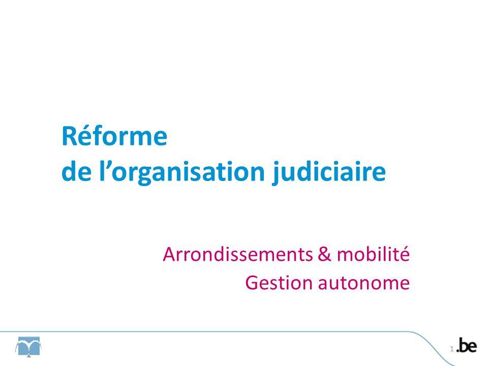 Réforme de lorganisation judiciaire Arrondissements & mobilité Gestion autonome 1