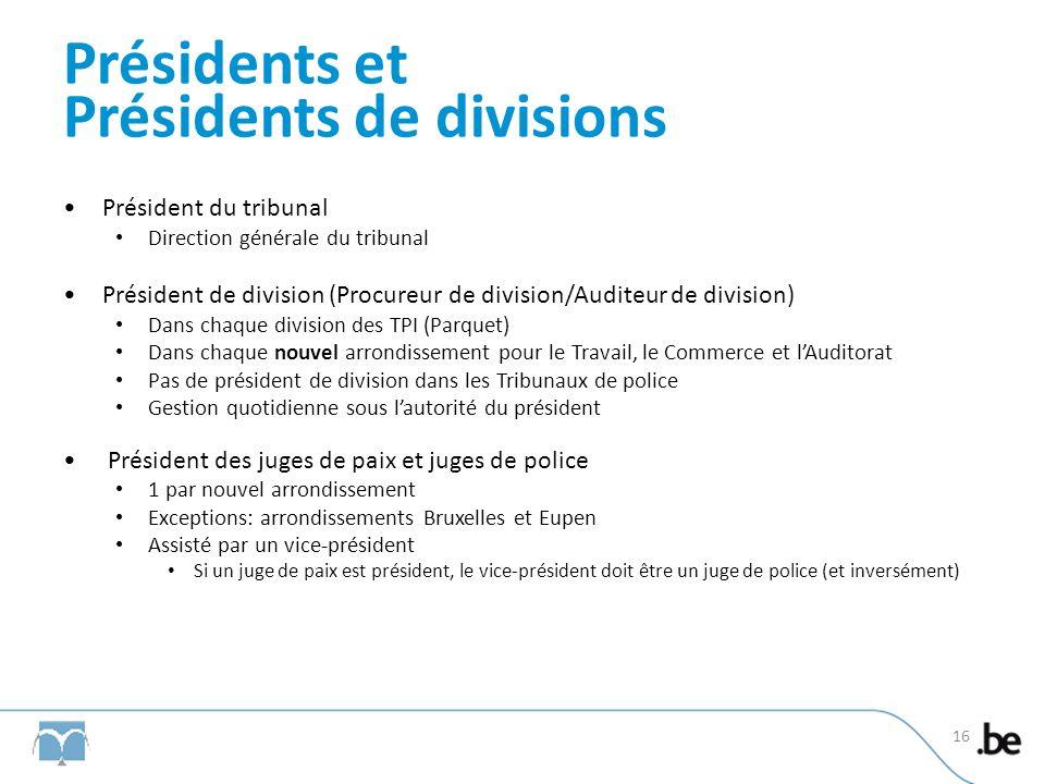 Présidents et Présidents de divisions Président du tribunal Direction générale du tribunal Président de division (Procureur de division/Auditeur de di