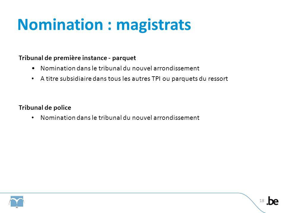 Nomination : magistrats Tribunal de première instance - parquet Nomination dans le tribunal du nouvel arrondissement A titre subsidiaire dans tous les autres TPI ou parquets du ressort Tribunal de police Nomination dans le tribunal du nouvel arrondissement 18