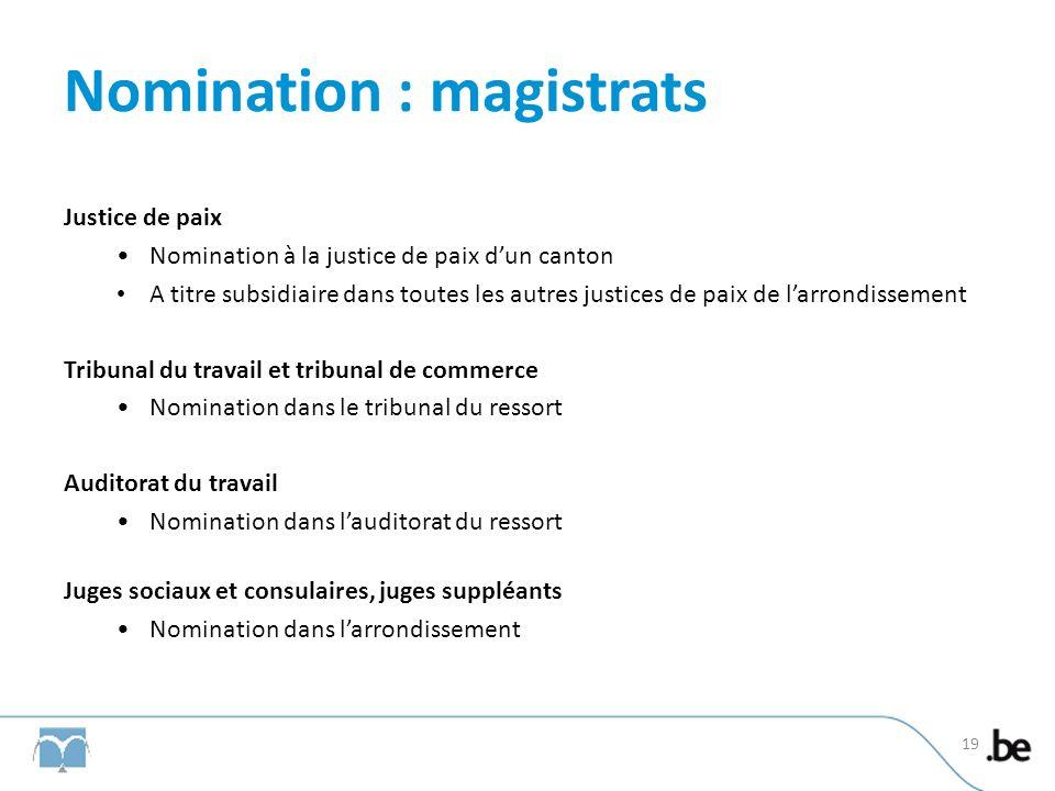 Nomination : magistrats Justice de paix Nomination à la justice de paix dun canton A titre subsidiaire dans toutes les autres justices de paix de larr