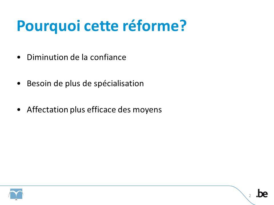 Pourquoi cette réforme? Diminution de la confiance Besoin de plus de spécialisation Affectation plus efficace des moyens 2