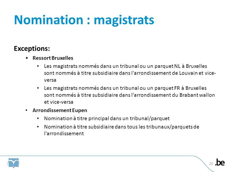 Nomination : magistrats Exceptions: Ressort Bruxelles Les magistrats nommés dans un tribunal ou un parquet NL à Bruxelles sont nommés à titre subsidiaire dans l arrondissement de Louvain et vice- versa Les magistrats nommés dans un tribunal ou un parquet FR à Bruxelles sont nommés à titre subsidiaire dans l arrondissement du Brabant wallon et vice-versa Arrondissement Eupen Nomination à titre principal dans un tribunal/parquet Nomination à titre subsidiaire dans tous les tribunaux/parquets de l arrondissement 20