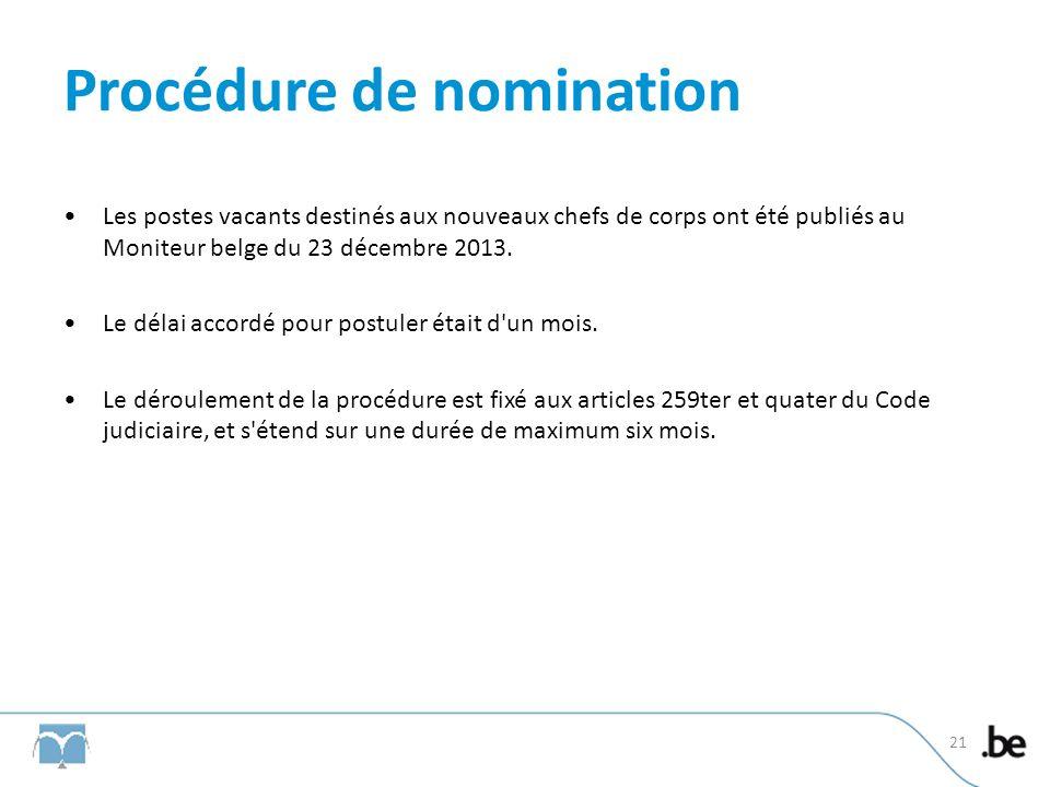 Procédure de nomination Les postes vacants destinés aux nouveaux chefs de corps ont été publiés au Moniteur belge du 23 décembre 2013.