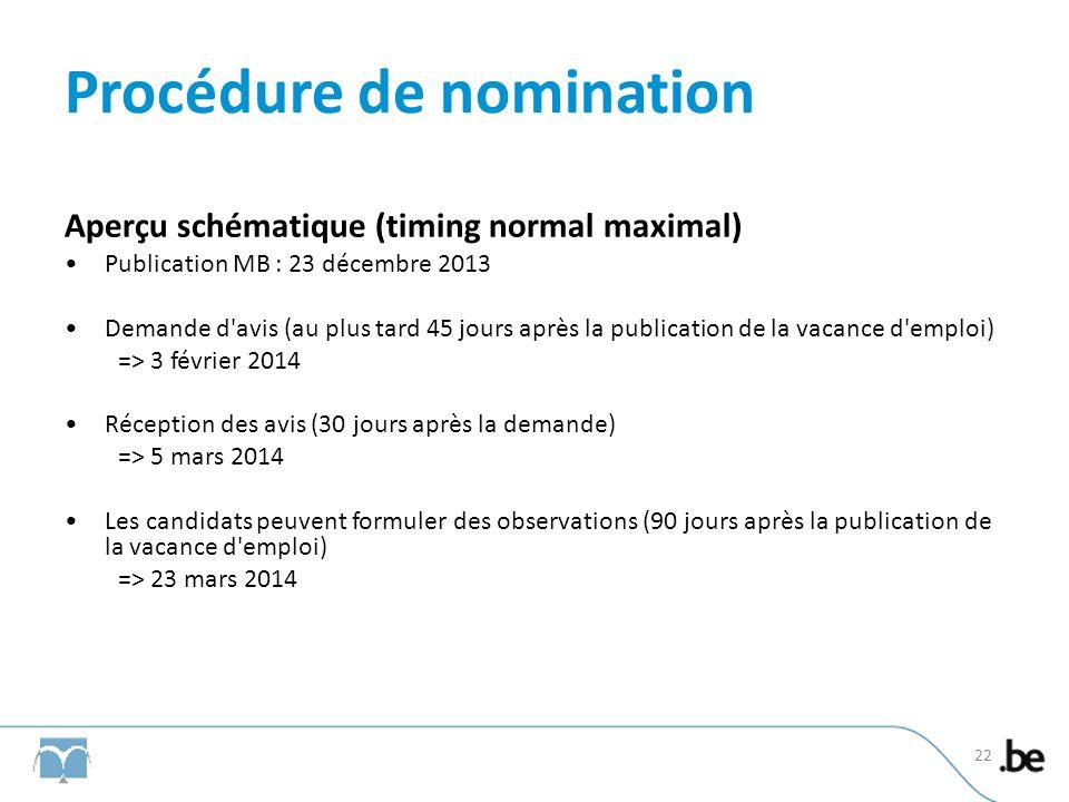 Procédure de nomination Aperçu schématique (timing normal maximal) Publication MB : 23 décembre 2013 Demande d'avis (au plus tard 45 jours après la pu