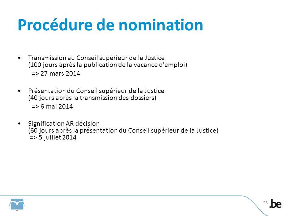 Procédure de nomination Transmission au Conseil supérieur de la Justice (100 jours après la publication de la vacance d'emploi) => 27 mars 2014 Présen
