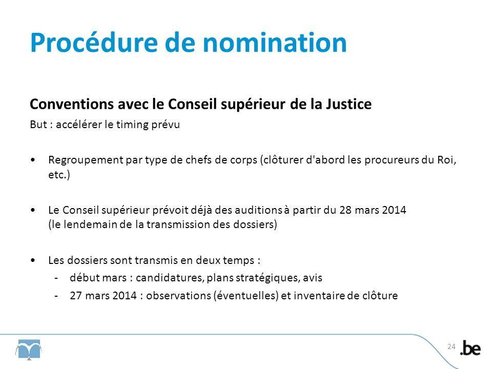 Procédure de nomination Conventions avec le Conseil supérieur de la Justice But : accélérer le timing prévu Regroupement par type de chefs de corps (c