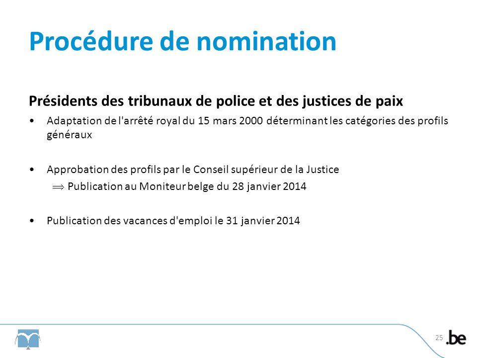 Procédure de nomination Présidents des tribunaux de police et des justices de paix Adaptation de l'arrêté royal du 15 mars 2000 déterminant les catégo