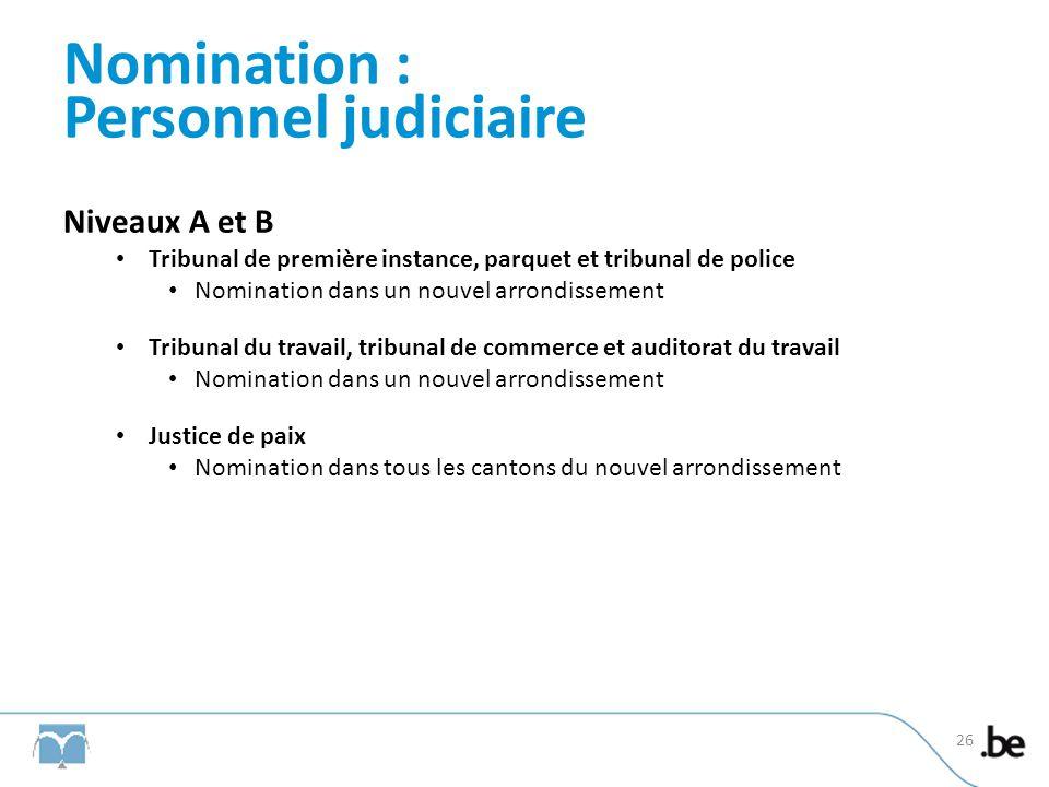 Nomination : Personnel judiciaire Niveaux A et B Tribunal de première instance, parquet et tribunal de police Nomination dans un nouvel arrondissement