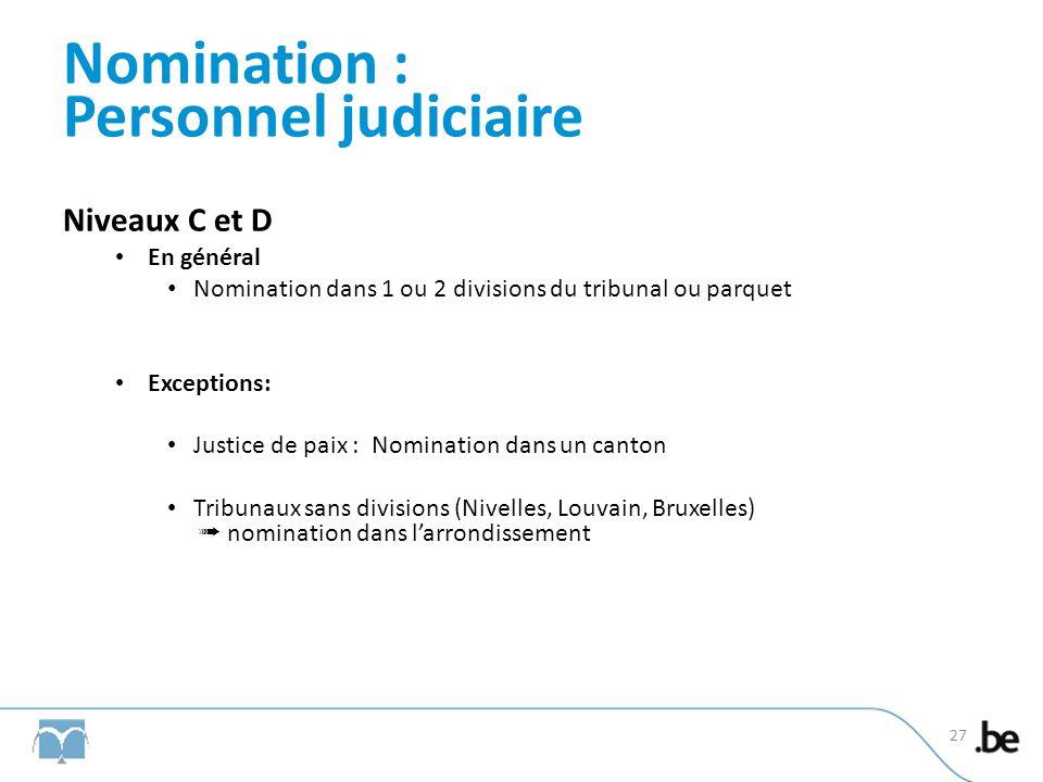 Nomination : Personnel judiciaire Niveaux C et D En général Nomination dans 1 ou 2 divisions du tribunal ou parquet Exceptions: Justice de paix : Nomi